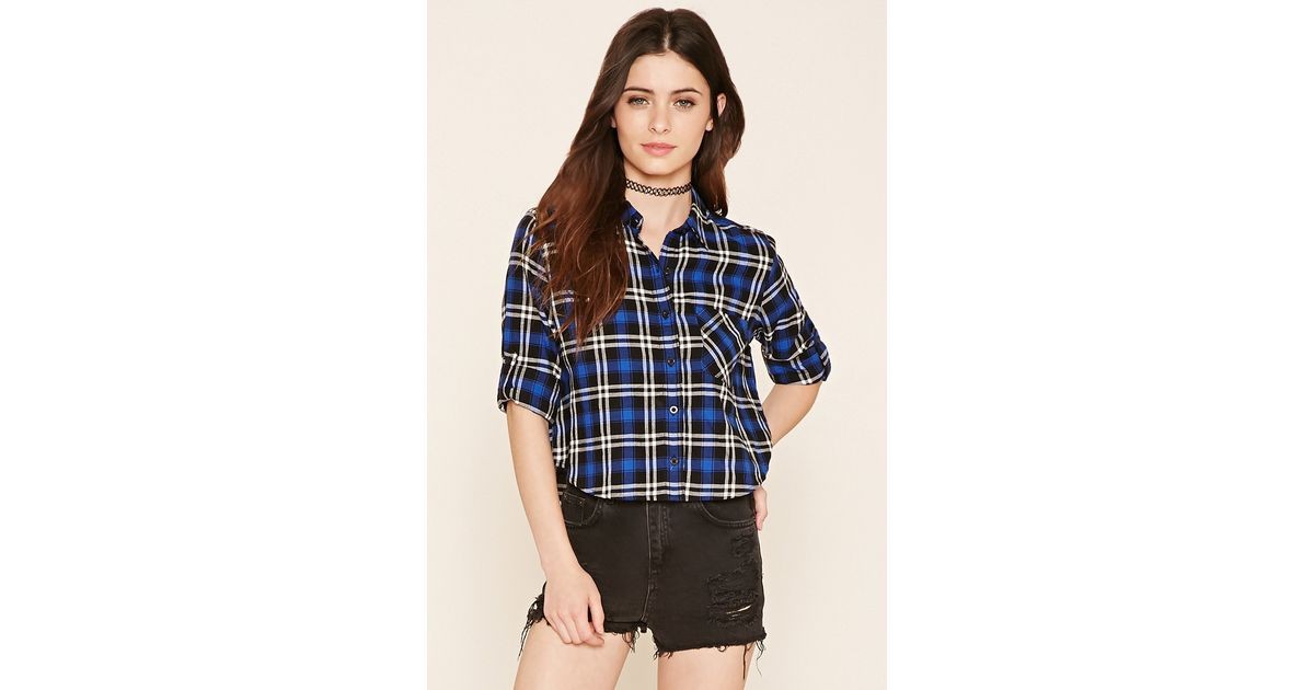 Forever 21 plaid flannel shirt in multicolor lyst for Flannel shirts for womens forever 21