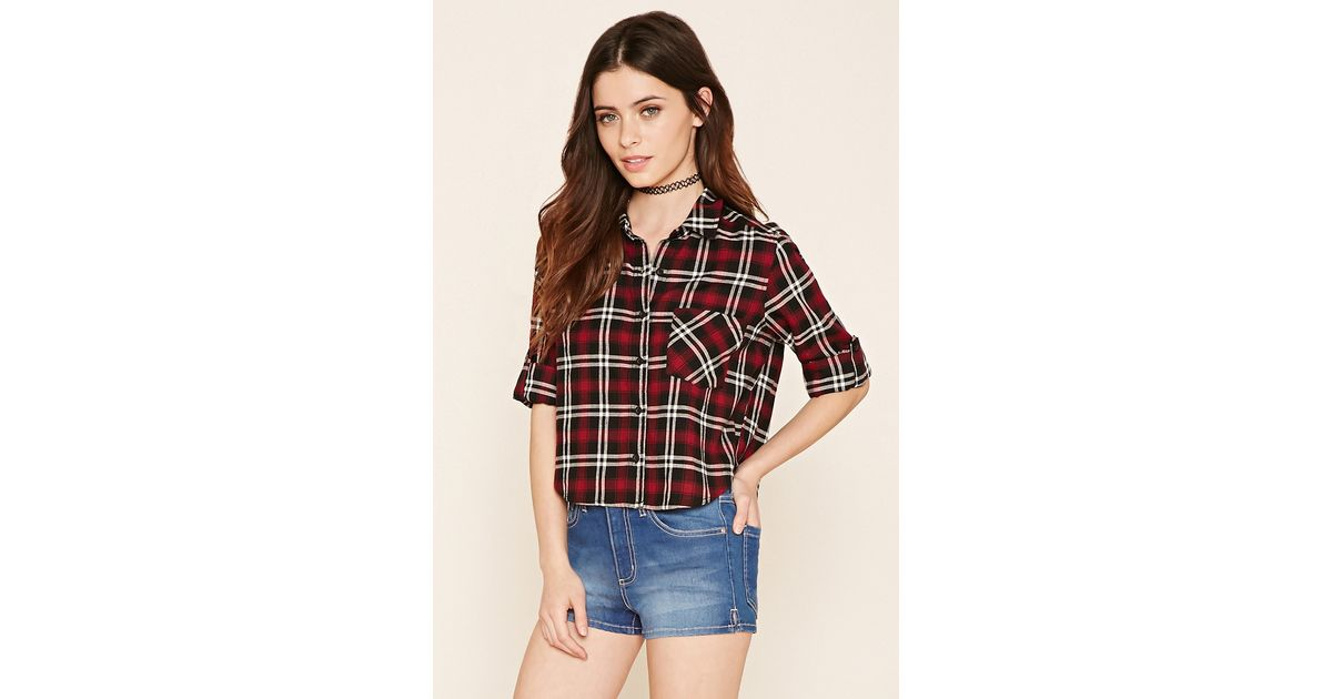 Forever 21 plaid flannel shirt in black lyst for Flannel shirts for womens forever 21