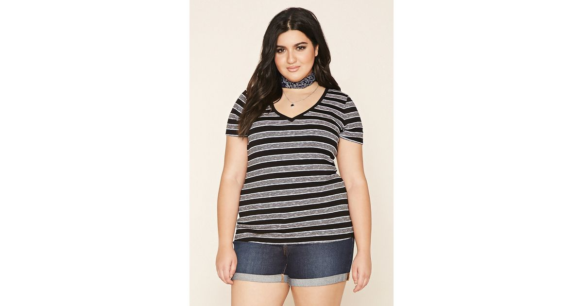 Forever 21 Plus Size Striped V-neck Top in Black | Lyst