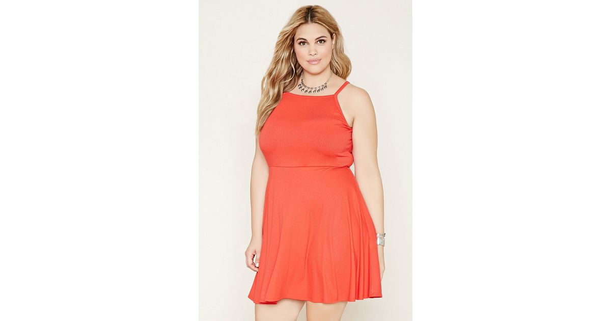 Lyst Forever 21 Plus Size Ribbed Skater Dress In Red