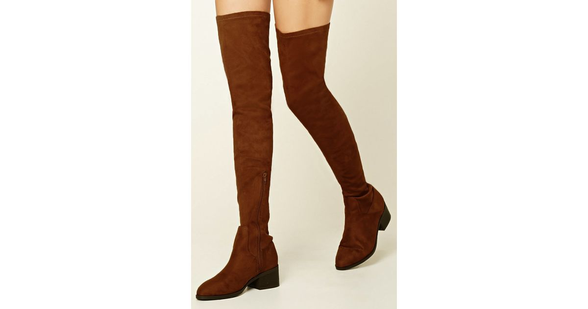 forever 21 thigh high faux suede boots in brown lyst