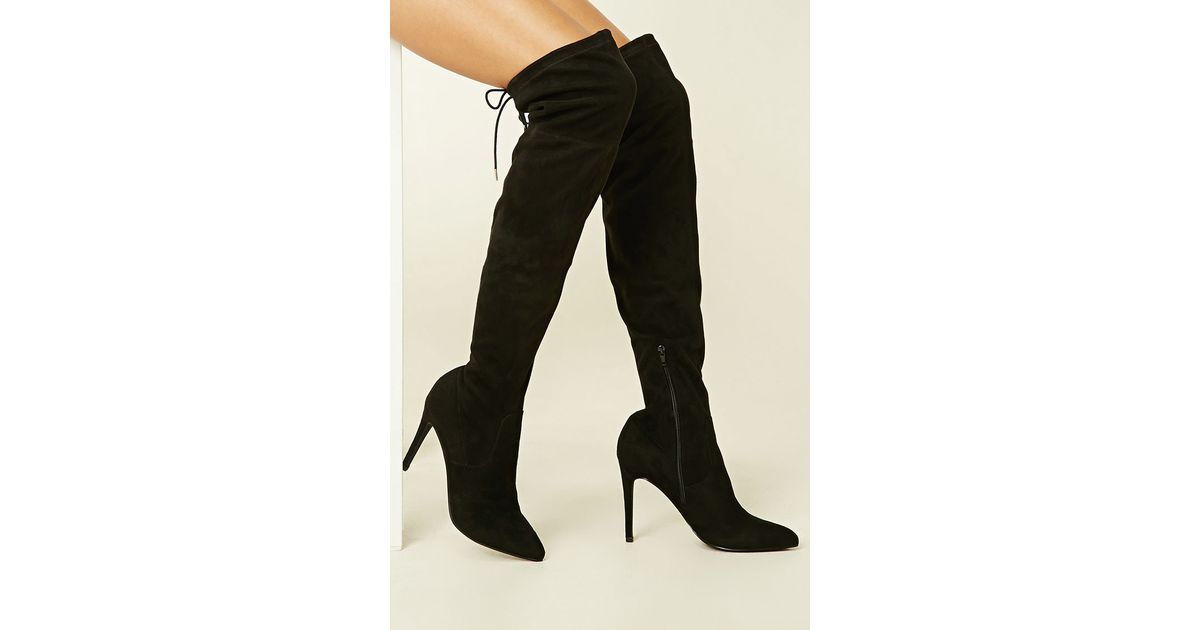 forever 21 faux suede the knee boots in black lyst