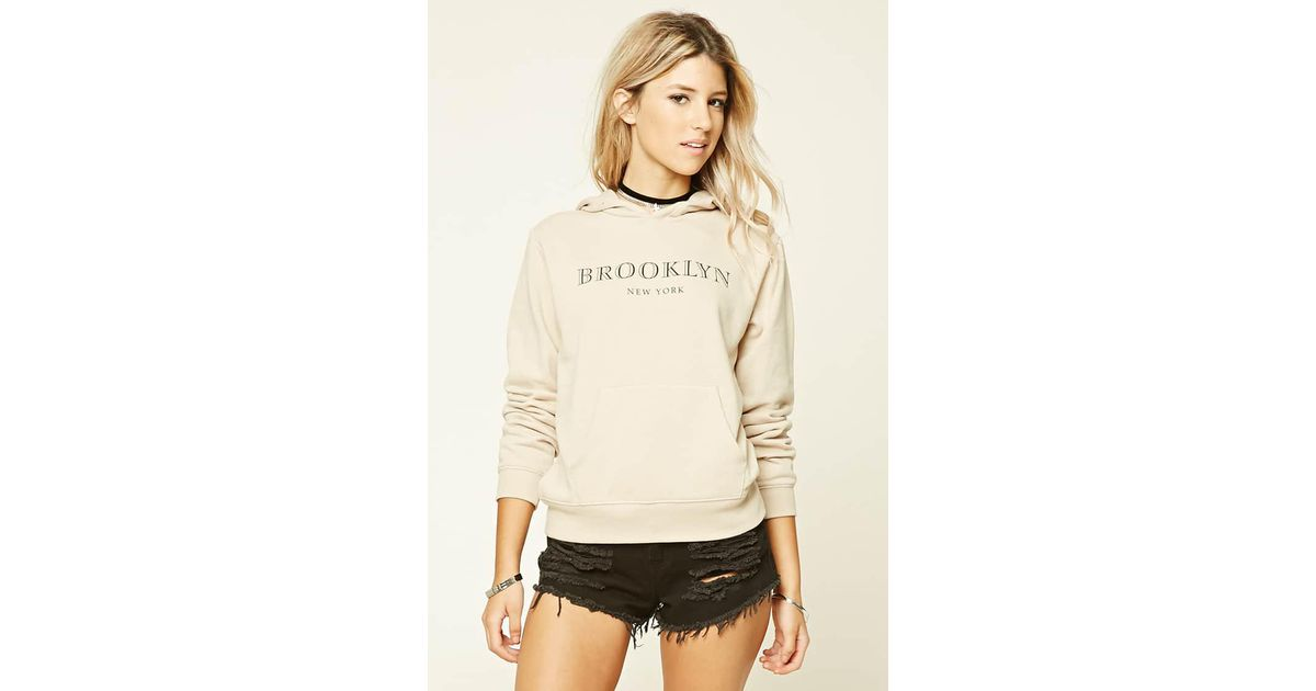 ac68e826a Forever 21 Brooklyn New York Hoodie in Natural - Lyst