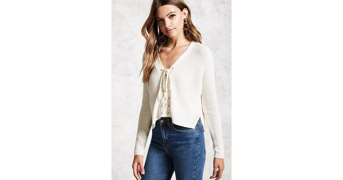 3797a8624fc717 Forever 21 Women's Lace-up Ribbed Knit Jumper Sweater in White - Lyst