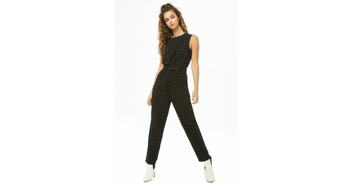10d1cdf1ec5 Lyst - Forever 21 Vero Moda Grid Print Jumpsuit in Black