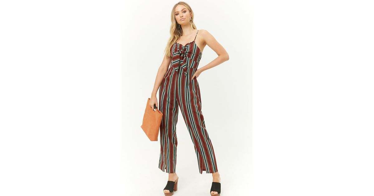 3e9fc68d0f10 Lyst - Forever 21 Woven Pink Knotted Striped Jumpsuit