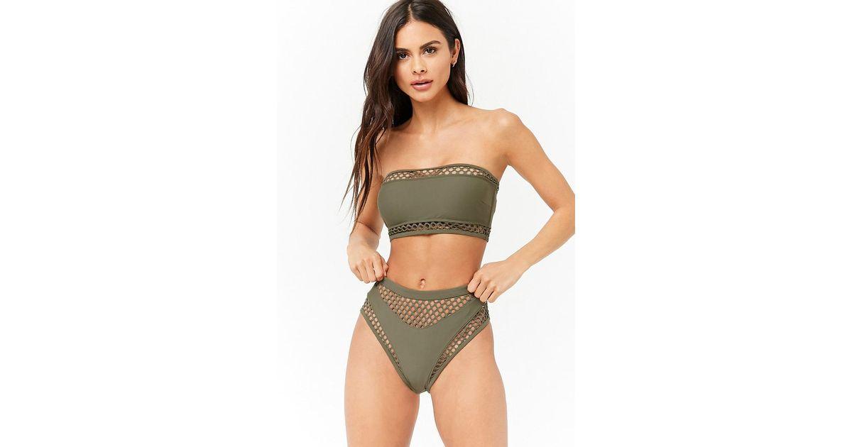 db485c3f55a Forever 21 Women's Fishnet & Solid Bikini Bottoms in Green - Lyst