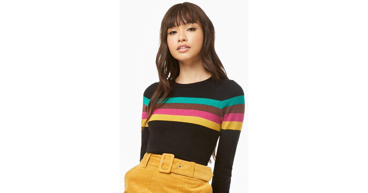 a195b132e9e62 Lyst - Forever 21 Metallic Knit Striped Sweater in Black