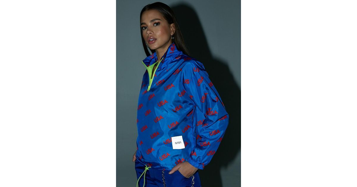 edacc9034 Forever 21 Nasa Usa Print Anorak , Blue/red