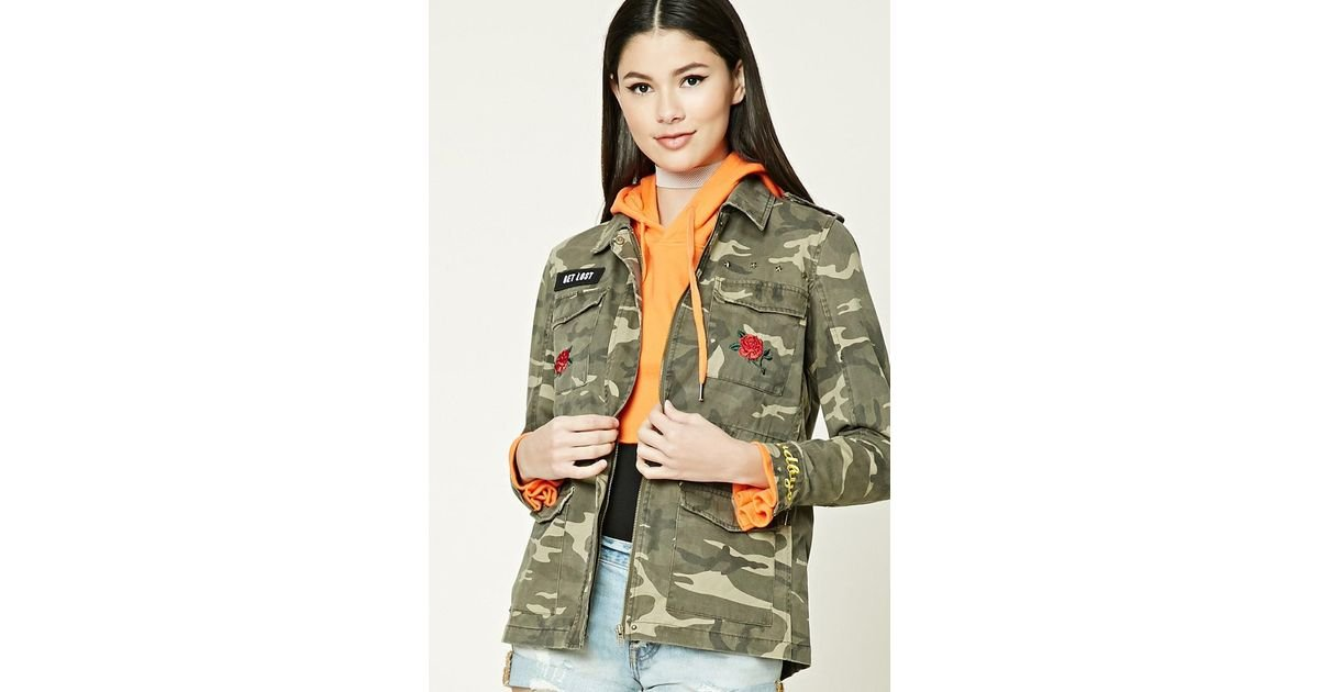 0919fcfba4145 Lyst - Forever 21 Get Lost Patched Army Jacket in Green