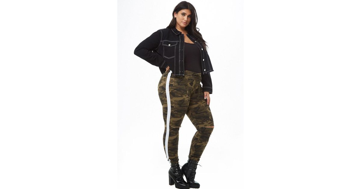 57ca74a71a8 Forever 21 Plus Size Distressed Striped-trim Camo Jeans in Green - Lyst