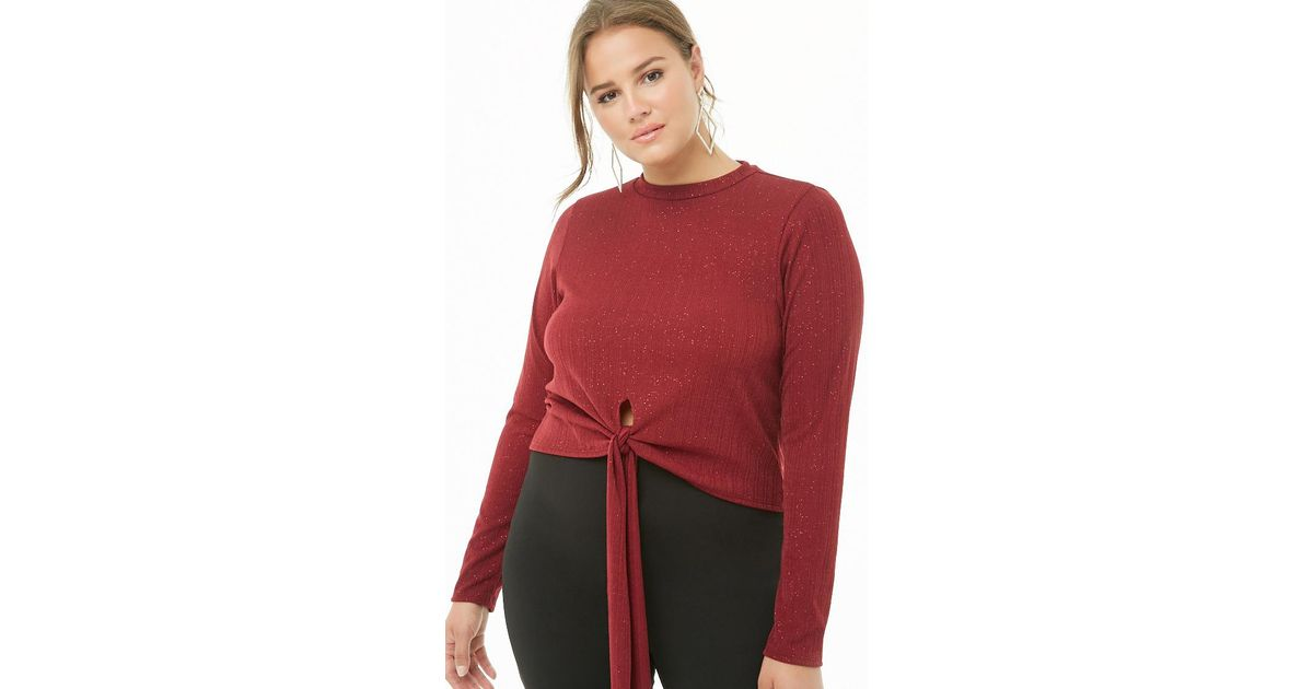 53309c350e7626 Forever 21 Women s Plus Size Knotted Glitter Crop Top in Red - Lyst