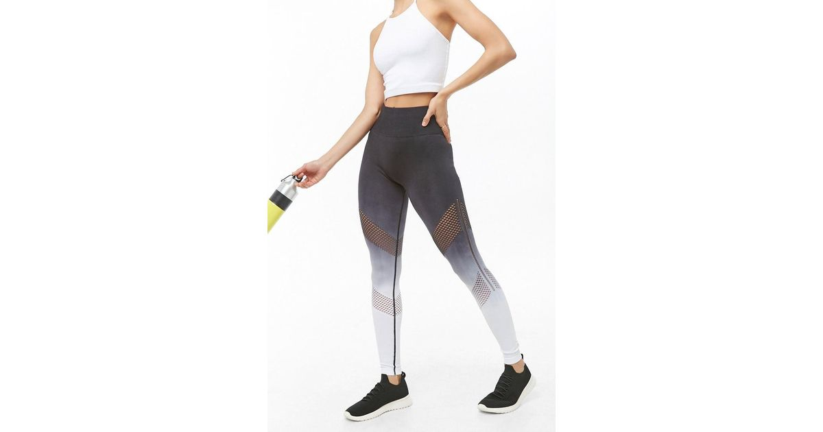 235b6638dc838a Forever 21 Active Seamless Ombre Mesh-trim Leggings in Black - Lyst