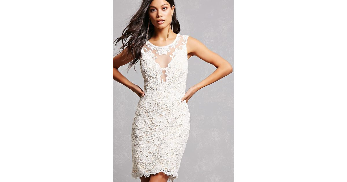 92ea2de30826 Forever 21 Soieblu Crochet Illusion Dress in White - Lyst