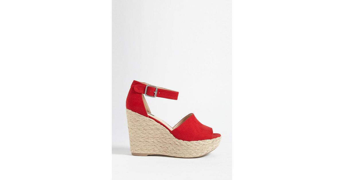 670ead77a1b Forever 21 Red Faux Suede Espadrille Wedges