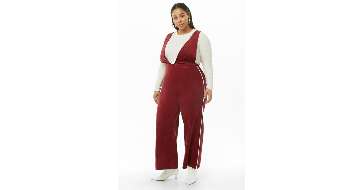 5fead56fef3 Forever 21 Women s Plus Size Corduroy Pinafore Striped-trim Jumpsuit in Red  - Lyst