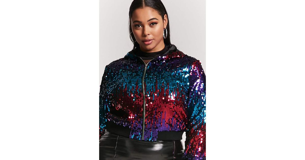 8c286adf9 Forever 21 Black Plus Size Hooded Sequin Jacket