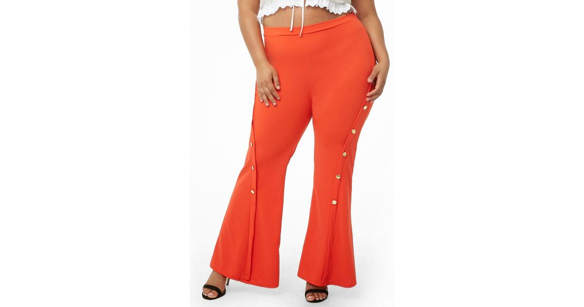 0ae042ad6384d Forever 21 Plus Size Embellished Flare Trousers in Red - Lyst