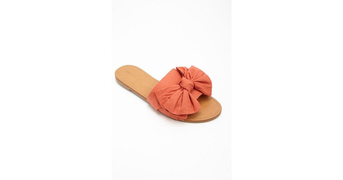 27ce10173 Lyst - Forever 21 Bow Slide Sandals in Orange