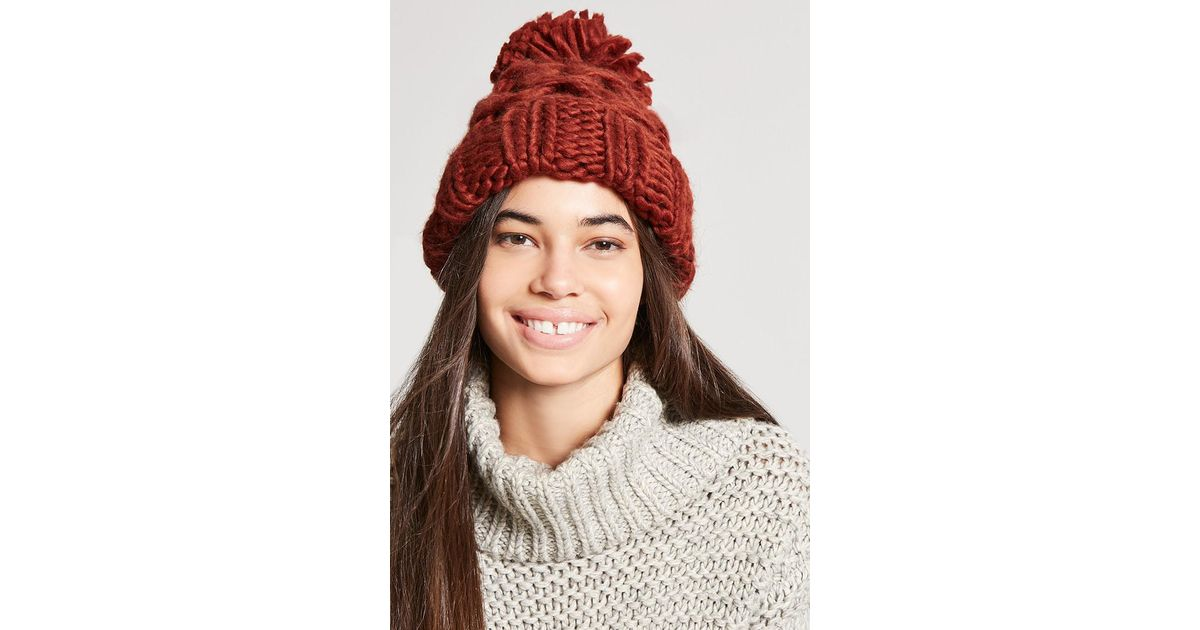 afb72f7b1 Forever 21 Brown Chunky Cable-knit Beanie Hat
