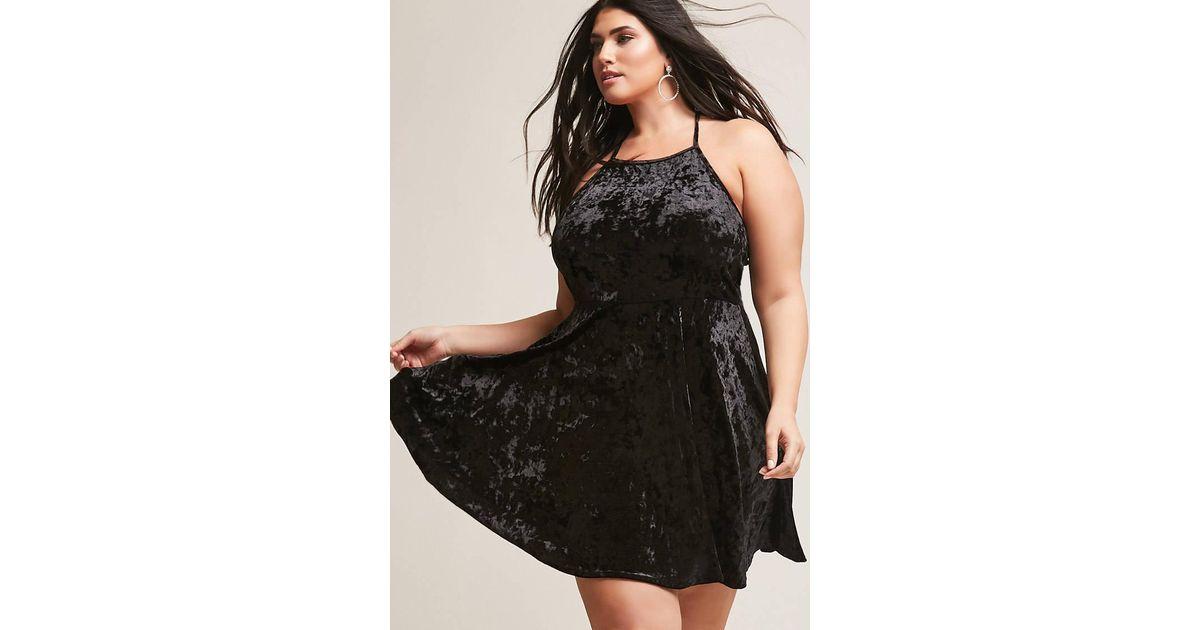 Forever 21 Black Plus Size Crushed Velvet Skater Dress