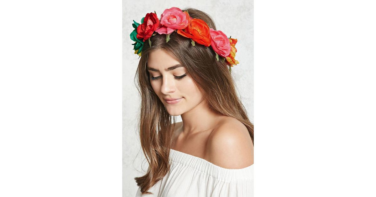 Lyst - Forever 21 Rainbow Flower Crown in Red 173e74f93d4