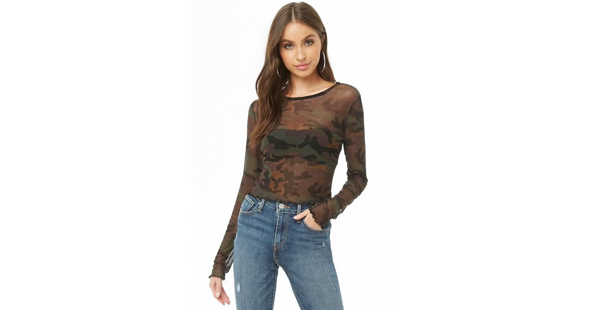 40c4a93397eaf Lyst - Forever 21 Sheer Camo Lettuce-edge Top
