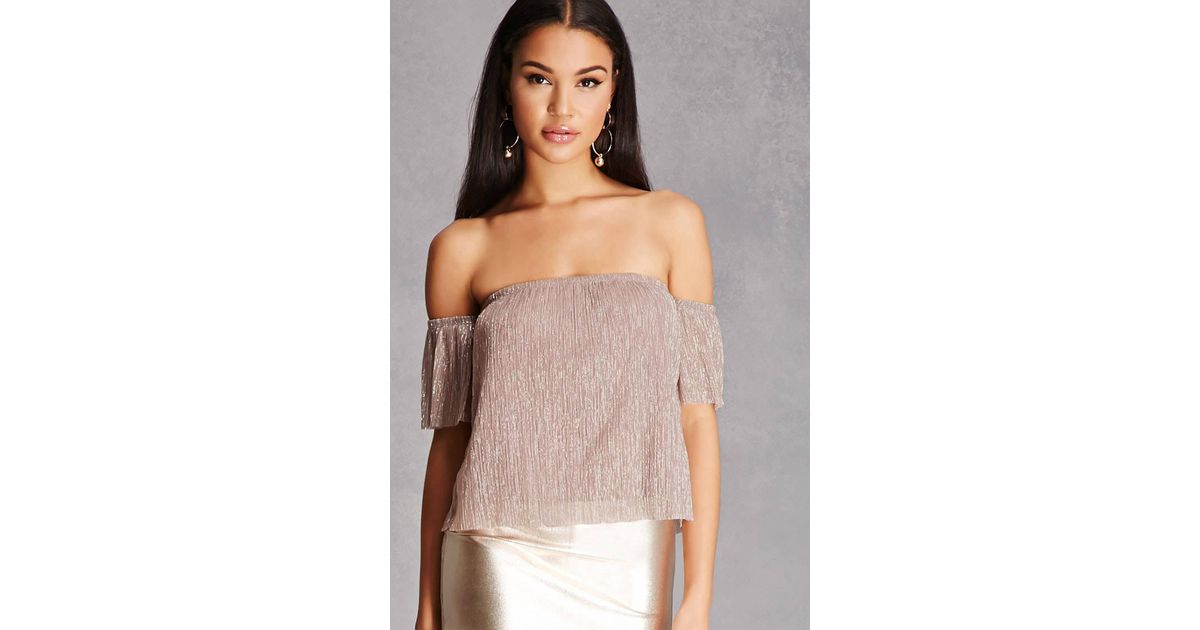 348a0300b9456 Lyst - Forever 21 Lurex Off-the-shoulder Top in Purple