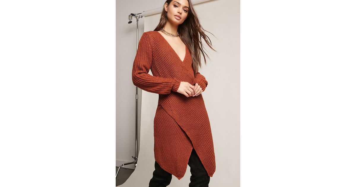 b221fb6e48 Lyst - Forever 21 Ribbed Knit Surplice Sweater Dress in Red
