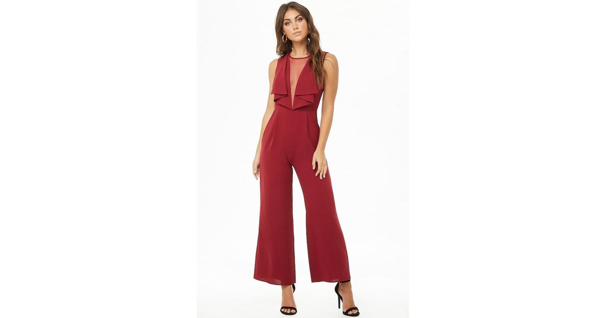 21f5cefbf254 Lyst - Forever 21 Illusion V-neck Jumpsuit in Red