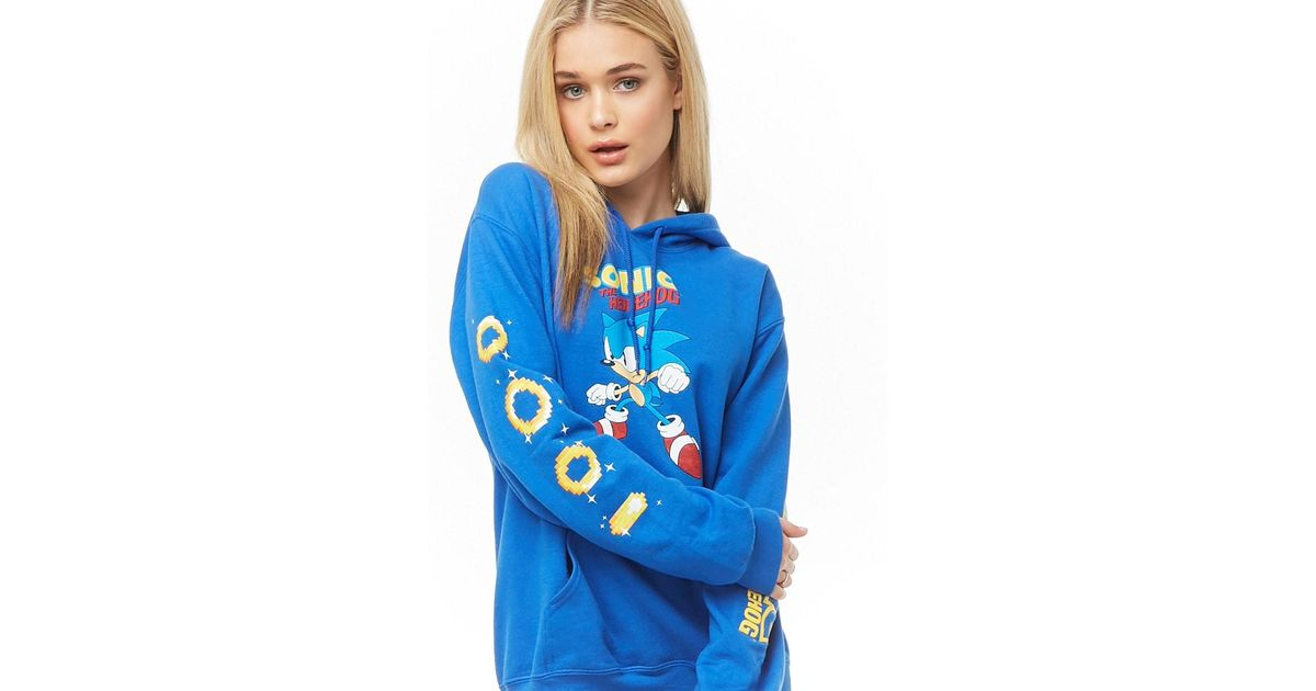 Forever 21 Fleece Sonic The Hedgehog Graphic Hoodie Blue Yellow Lyst