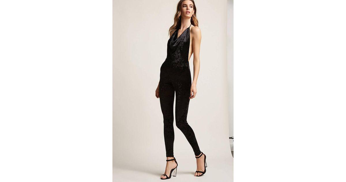 f98e836b4b9 Forever 21 Crushed Velvet Cowl Neck Jumpsuit in Black - Lyst