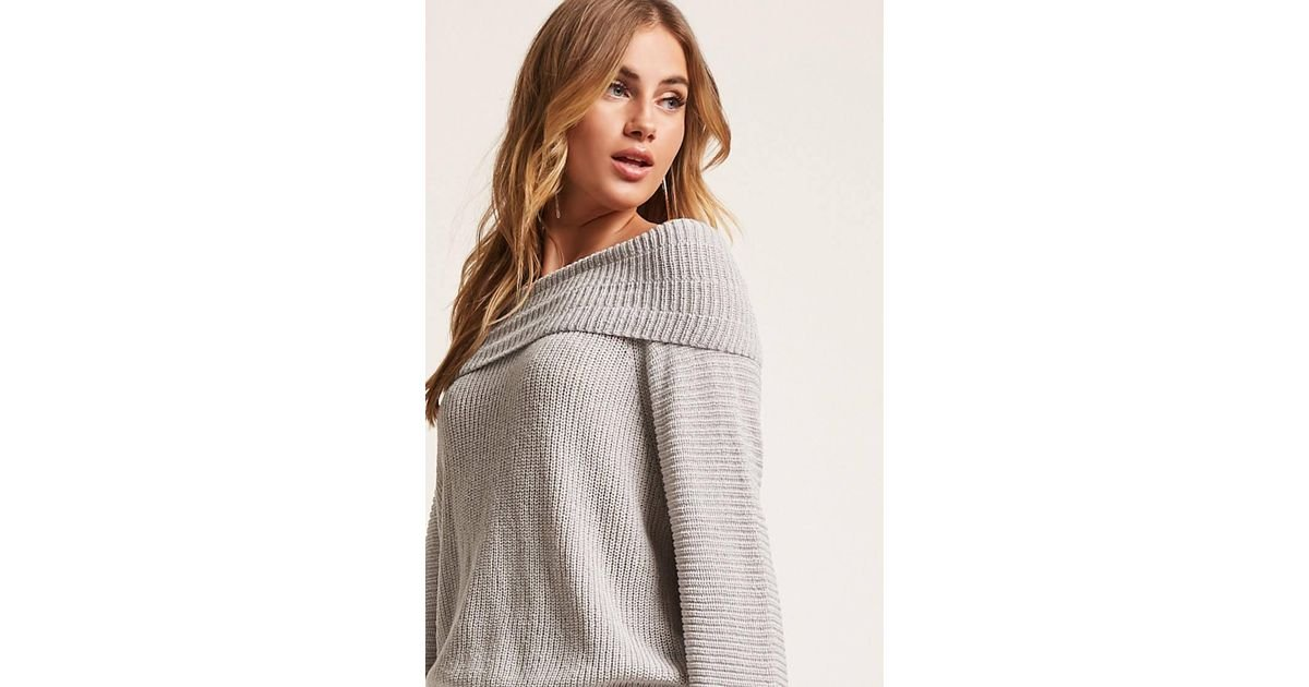 8614b67757a Lyst - Forever 21 Ribbed Off-the-shoulder Sweater in Gray