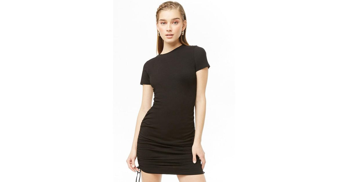 Lyst - Forever 21 Ruched Lace-up T-shirt Dress in Black b8aedbcf1