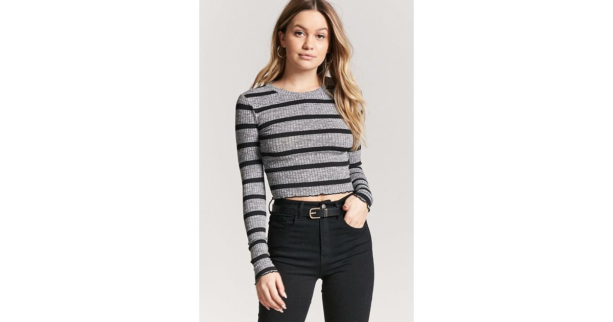 e07127999110ec Forever 21 Women s Marled Stripe Lettuce-edge Crop Top in Gray - Lyst