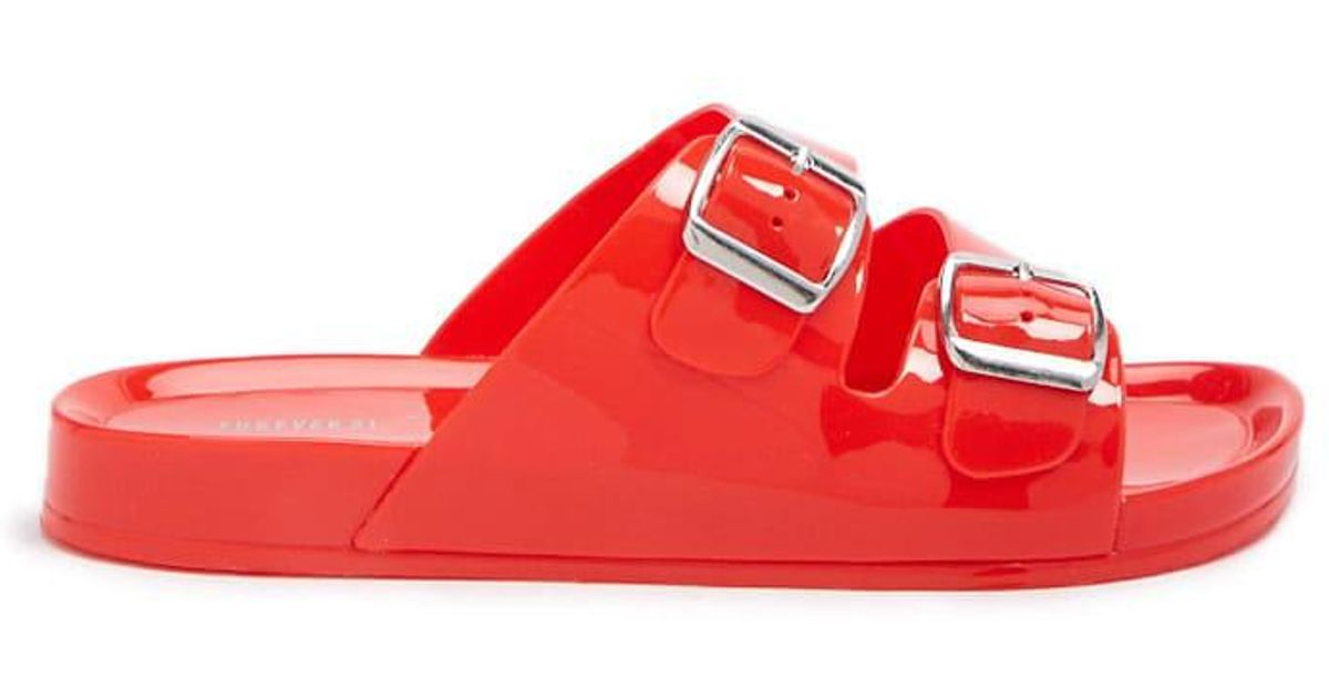 89d15db85 Lyst - Forever 21 Double-strap Jelly Slides in Red - Save 33%