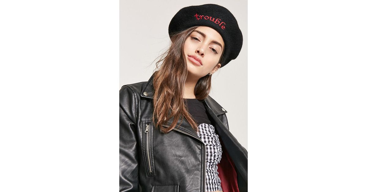 aa9fa3f5b817f Lyst - Forever 21 Trouble Graphic Wool-blend Beret in Black