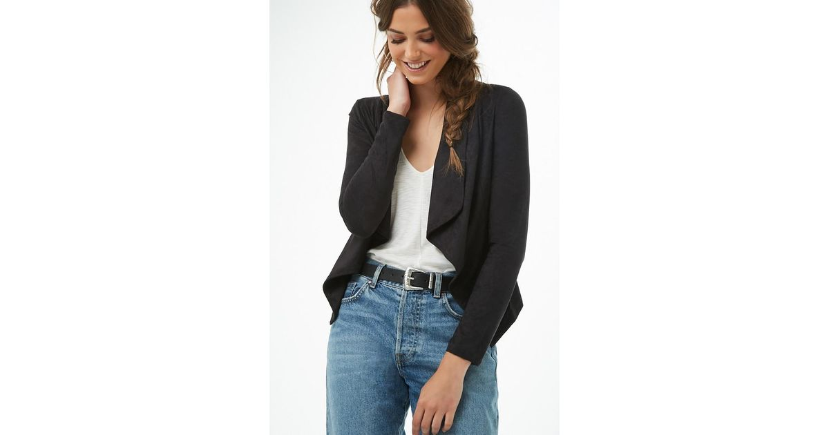26c7a37779f Forever 21 - Black Faux Suede Cropped Cardigan - Lyst