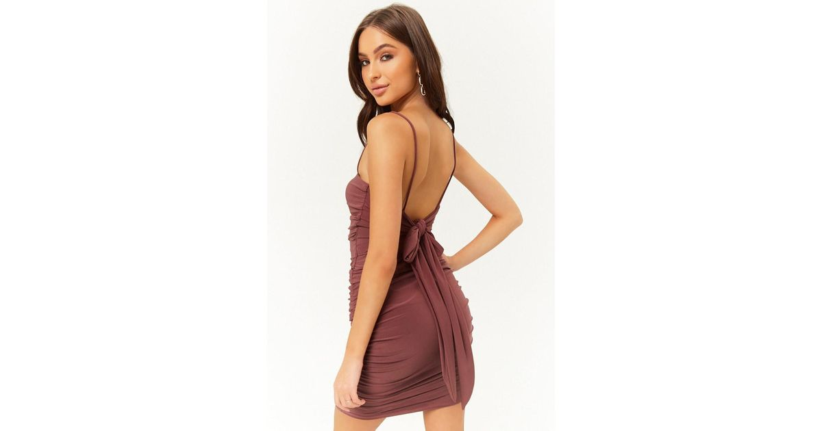 fcd523d9 Forever 21 Ruched Cami Mini Dress in Red - Lyst