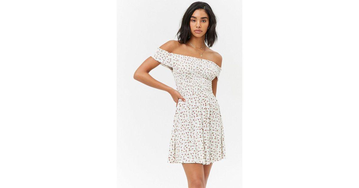 825c49b682 Lyst - Forever 21 Smocked Floral Off-the-shoulder Dress in Natural