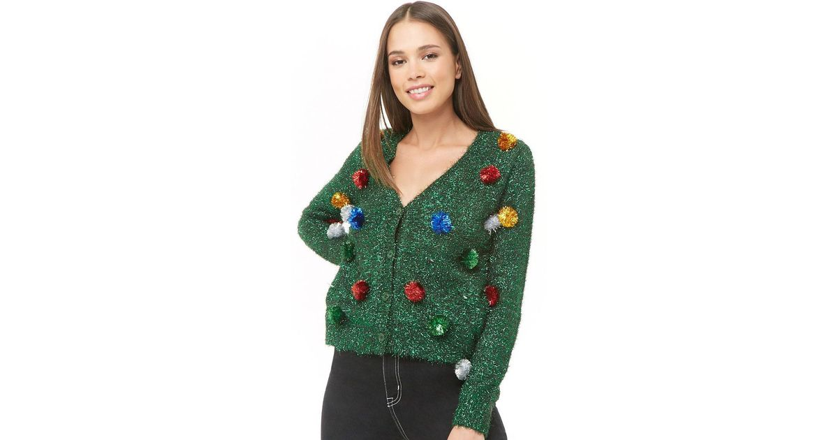 Christmas Cardigan.Forever 21 Tinsel Christmas Cardigan Green Black