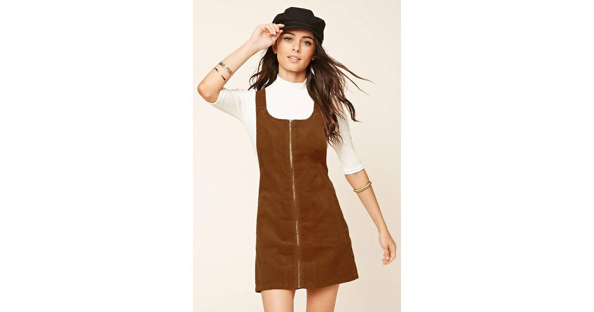5d5621b95e2 Lyst - Forever 21 Corduroy Overall Dress in Brown