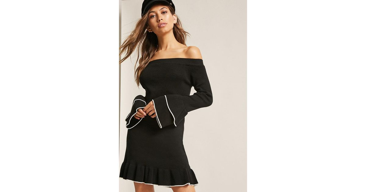 Lyst Forever 21 Ribbed Off The Shoulder Sweater Dress In Black