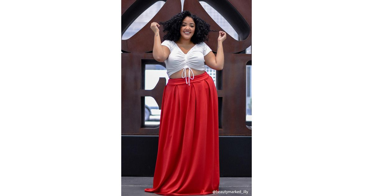 0940b337b Forever 21 Plus Size Box-pleated Maxi Skirt in Red - Lyst