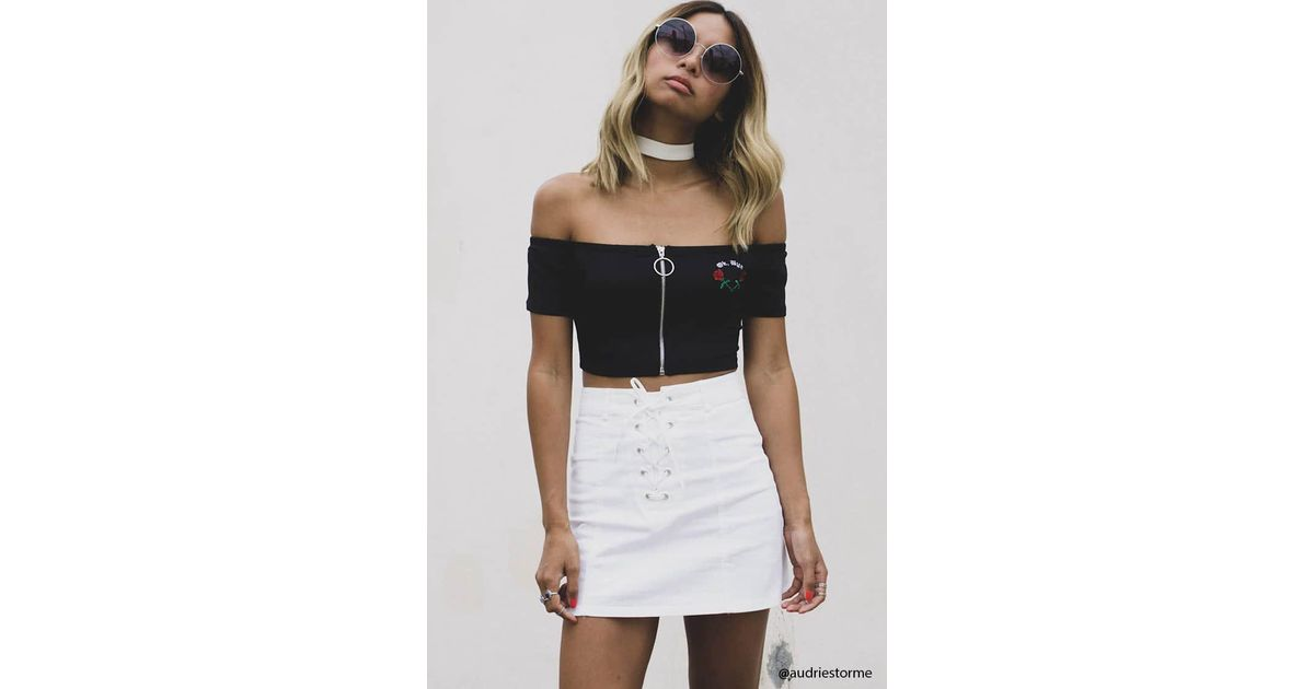 dccdb197e4a6 Forever 21 Lace-up Denim Mini Skirt in White - Lyst