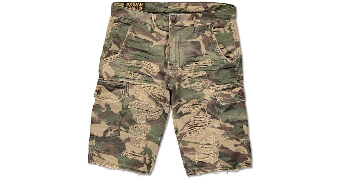 861ea0578022 Lyst - Forever 21 Jordan Craig Distressed Camo Cargo Shorts in Green for Men