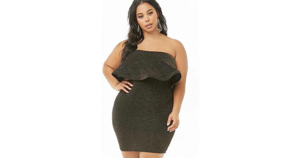65ee74ea6cc Forever 21 Women s Plus Size Metallic Tube Dress in Metallic - Lyst