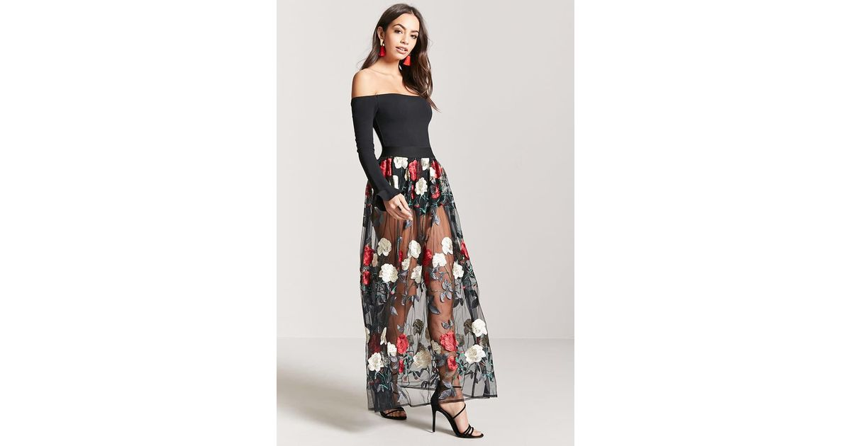 db1de22240 Forever 21 Sheer Mesh Floral Embroidered Maxi Skirt in Black - Lyst