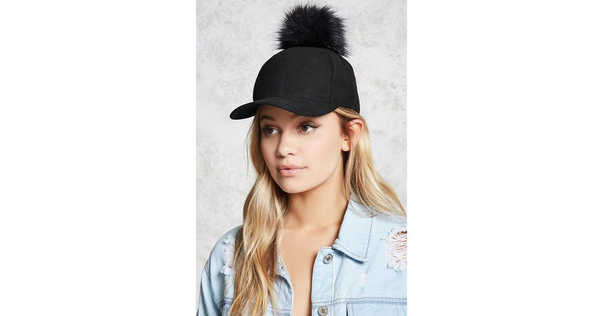 Forever 21 Pom Pom Faux Suede Baseball Cap in Black - Lyst f271e42baa22