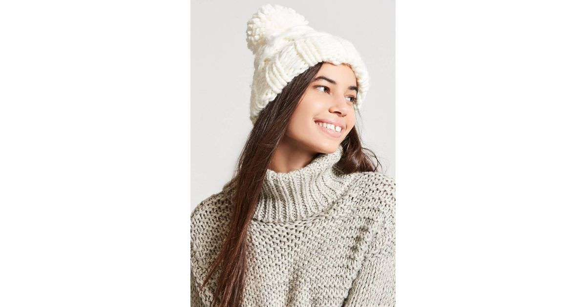 e1f3642ef Forever 21 Multicolor Chunky Cable-knit Beanie Hat